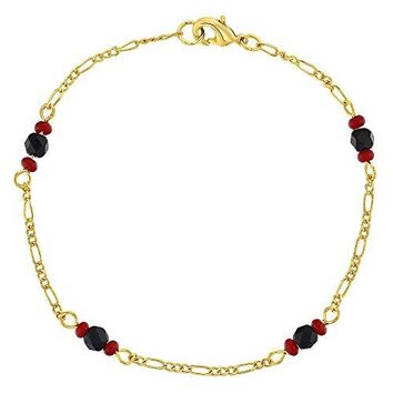 In Season Jewelry 18k Gold Plated Evil Eye Protection Simulated Azabache Womens Amulet Bracelet 75quot
