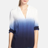 Two by Vince Camuto Ombré Split Neck Blouse | Nordstrom