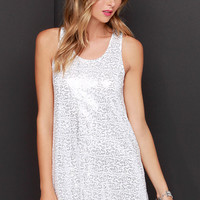 Arctic Fox White and Silver Sequin Dress