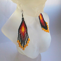 Ethnic Style Earrings-Native American Style-Beaded Earrings Inspired-Earrings With Fringe-Beadwork Earrings-Long Earrings