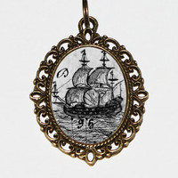 Pirate Ship Necklace, Pirates, Pirate Boat, Nautical Jewelry, Bronze Oval Pendant