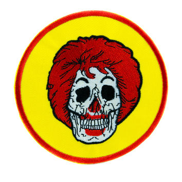 Ronald McDonald Skull Patch Iron on Applique Alternative Clothing Americana Fast Food