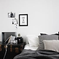Stay in bed typography print black and white motivational wall decor minimal art (from US Letter and A4 up to A0 size)