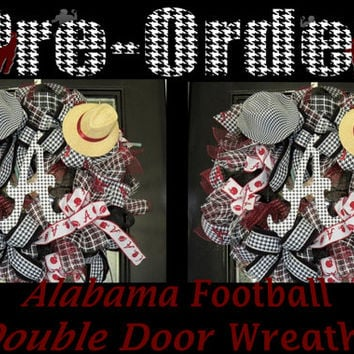 Alabama Football Double Door Wreaths, Roll Tide Wreaths, Double Door Made to Order