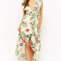 Wraparound Tropical High-Low Dress