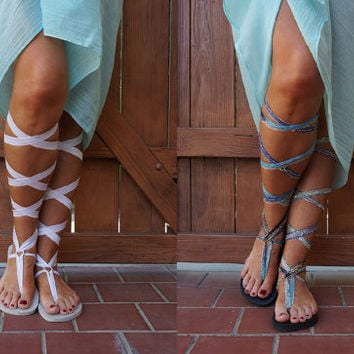 Flat Lace Up Gladitator Sandals with TWO pair of Interchangeable Laces. One pair white and one Caribbean Blue. Perfect Wedding Sandal.