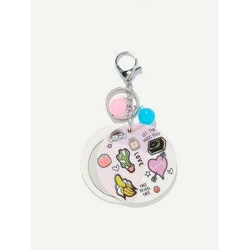 Random Color Ball Cartoon Round Keychain