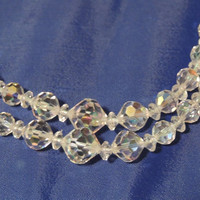 Vintage Crystal Necklace,Aurora Borealis, Faceted Crystal Necklace, Wedding Necklace, Special Occasion Necklace (sn 954)