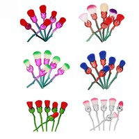 GUJHUI 6pcs Rose Flower Makeup Brushes Set Foundation Contour Powder Highlighter Plating Make up  Multicolored Rose Brushes