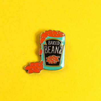 Baked Beans Enamel Pin Badge Lapel Pin - Kitsch Retro Pop Art Food
