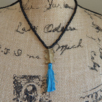 Tassel necklace, black necklace, seed beads, bohemian style, beach boho,neutral, summer,african brass bead, teal tassel, layer necklace