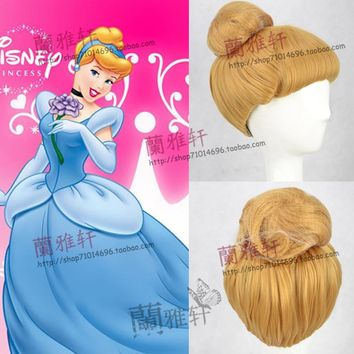Halloween Cinderella Princess Cosplay Wig Golden Yellow wig Role Play Classic Cinderella Updo Styled Role Play Wig + Wig Cap