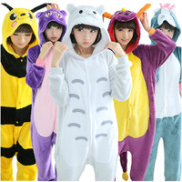 Cheap Adult Flannel Blue Pink Stitch Pig Kitty Cat Tiger Giraffe Unicorn Kigurumis Animal Pajamas Costume Onesuits Unicorn Racoon