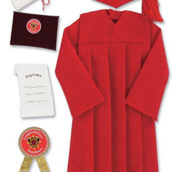 Jolee's Boutique Dimensional Stickers-Graduation Cap & Gown - Red