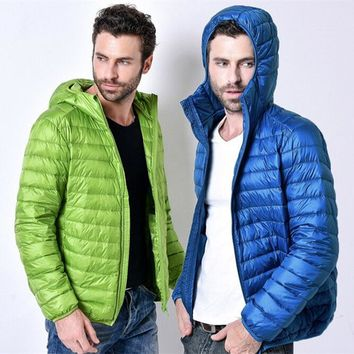 2016 fall and winter clothes new men's large size ultra-thin men down jacket short paragraph Hoodie brand clothing WZ225