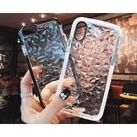 Transparent stereo iPhone7 women's tide brand all-inclusive drop-drop diamond pattern mobile phone case F-OF-SJK
