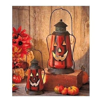 Metal Lantern Set Fall Autumn Jack-o'-Lantern Pumpkin Orange Lamp Yard Patio