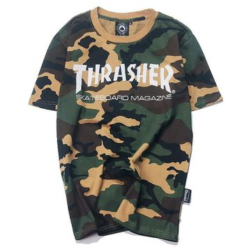 THRASHER Fashion Women Men Camouflage Print Short Sleeve T-Shirt Top