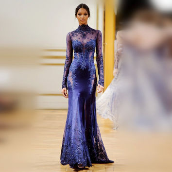 Royal Blue Mermaid Long Sleeve Prom Dresses Sheer High Neck Sexy  Beaded Lace Appliques See Through Women Formal Evening Dresses