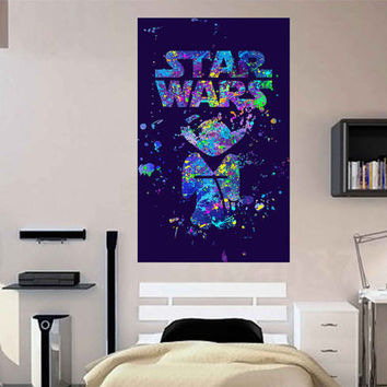 kcik1711 Full Color Wall decal poster space Watercolor paint splashes Yoda Star Wars character nursery teenager