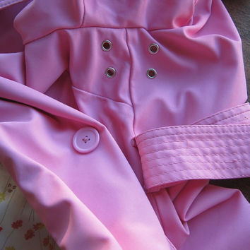 Bubblegum Pink Trench Coat - Vintage '80s Small-Medium Trench Coat with Tie