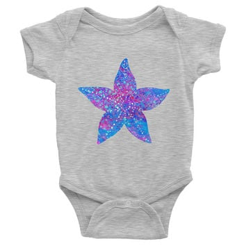 Starfish Baby Onesuit baby Bodysuit Infant Baby Rib Short Sleeve One-Piece Printing American Apparel starfish baby Onesuit baby clothing