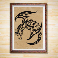 Tribal Dragon print Rustic decor Fantasy poster