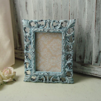 Blue 4 x 6 Picture Frame, Wedding Table Number Frame, Light Blue Distressed Vintage Style Ornate Frame, Nursery Frame, Beach Chic Frame
