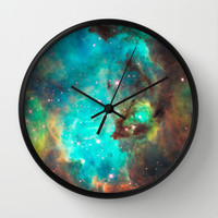 Green Galaxy Wall Clock by rapplatt