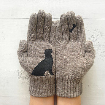 CHRISTMAS GIFT, Dog Bone Gloves, Dogs, Bone, Dog Lovers, Dark Beige Gloves, Special Gift, Xmas Gift, Animal Lovers, Holiday Gift, Unique