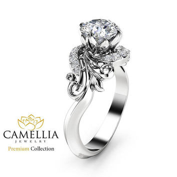 Leaves Diamond Engagement Ring 18K White Gold Ring Natural Diamond Engagement Ring