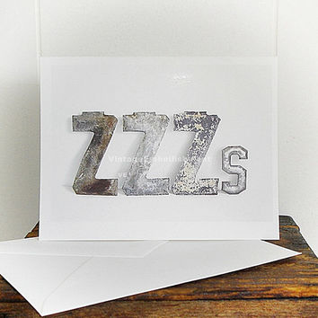 ZZZs Note Card Sleepy? Antique Marquee Letter Card Shop VintageEmbellishment