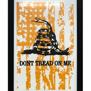 """Don't Tread On Me with Distressed American Flag Art Print Yellow - 13x19"""""""