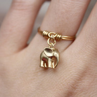 Elephant ring, Golden elephant ring, Thin gold ring, Dangle Ring, Charm Ring, Wire Ring, Wire Wrapped, Dainty Ring, Gift, Stackable