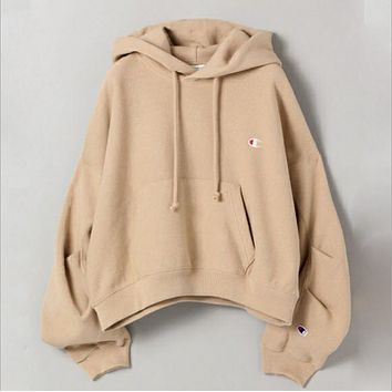 Champions autumn and winter new men and women wear fleece quality sweater Light khaki