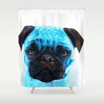Blue Pug Dog Pop Art by Sharon Cummings Shower Curtain by Sharon Cummings | Society6