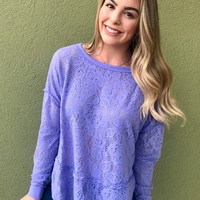 "Free People ""Not Cold In This Top"" - Light Purple"