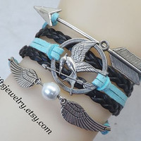 Bijoux,Hunger bird,games jewelry,Burning Girl,Mocking bird jay bracelet,wings bracelet,arrow,catching fire,hipster jewelry