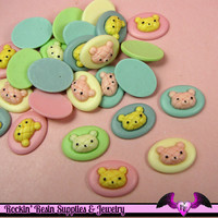 5 pcs BEAR HEAD BREAD BuN Small Cameo  Resin Decoden Kawaii Flatback Cabochons 19x14mm
