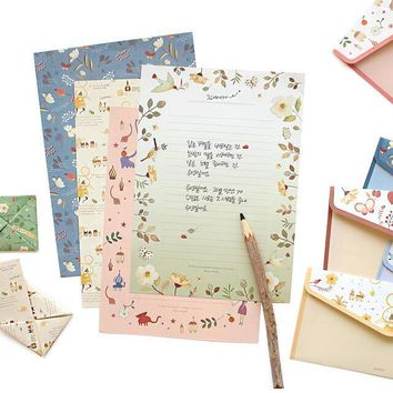 6Pcs/pack New Sweet Little Flowers Retro Envelope Letter Set Paper Message Card Letter Stationary Storage Paper Gift H2204