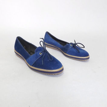 Vintage 70s 80s Size 8 Womens Beacon Blue Sneaker Lace up Flats Slip On Shoes Velour Boating Shoes Loafers Boho Urban Hipster Summer Beach