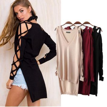 Hollow Out Knit Tops Women's Fashion Cross Strap Autumn Pullover Bottoming Shirt [22395846682]