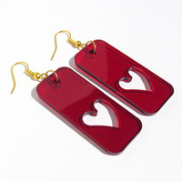 Crimson Red Heart Earrings Free Shipping Pink Blue Love Earrings Laser Cut Earrings Heart Jewelry Light Weight Modern Design Jewelry