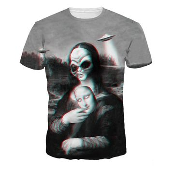 Alisister unisex vintage retro T-shirt 3d printed UFO Alien Mona Lisa tops tees black white mens tee-shirt hip hop  camisetas