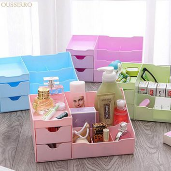 Drawer Type Makeup Organizer Cosmetics Desktop Storage Box Open Type High-capacity Plastic Sundries Container Dresser