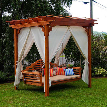 Red Cedar Pergola 8x8 ft. Swing Bed Set
