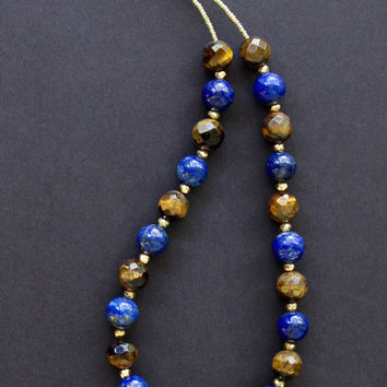 Lapis and Tiger's Eye Necklace Afghan All Natural Deep Blue Lapis w 14k Gold Pyrite Accents Blue and Gold Gemstone Jewelry
