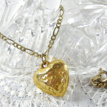 Vintage Pendant Necklace, Puffy Heart, Etched Leaf Floral, Gold Tone Metal, 1970s Romantic Love Sweetheart Jewelry