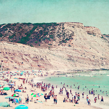 Beach photography, aerial beach print, beach people, mountain print, coastal decor, fine art print, Portugal, wall decor, home decor