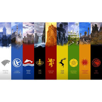 Game of Thrones (A song of Fire and Ice ) house symbols of all the families plus their castles Playmat